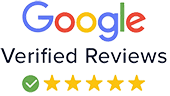 Google logo with five stars, links to the review page on Google business